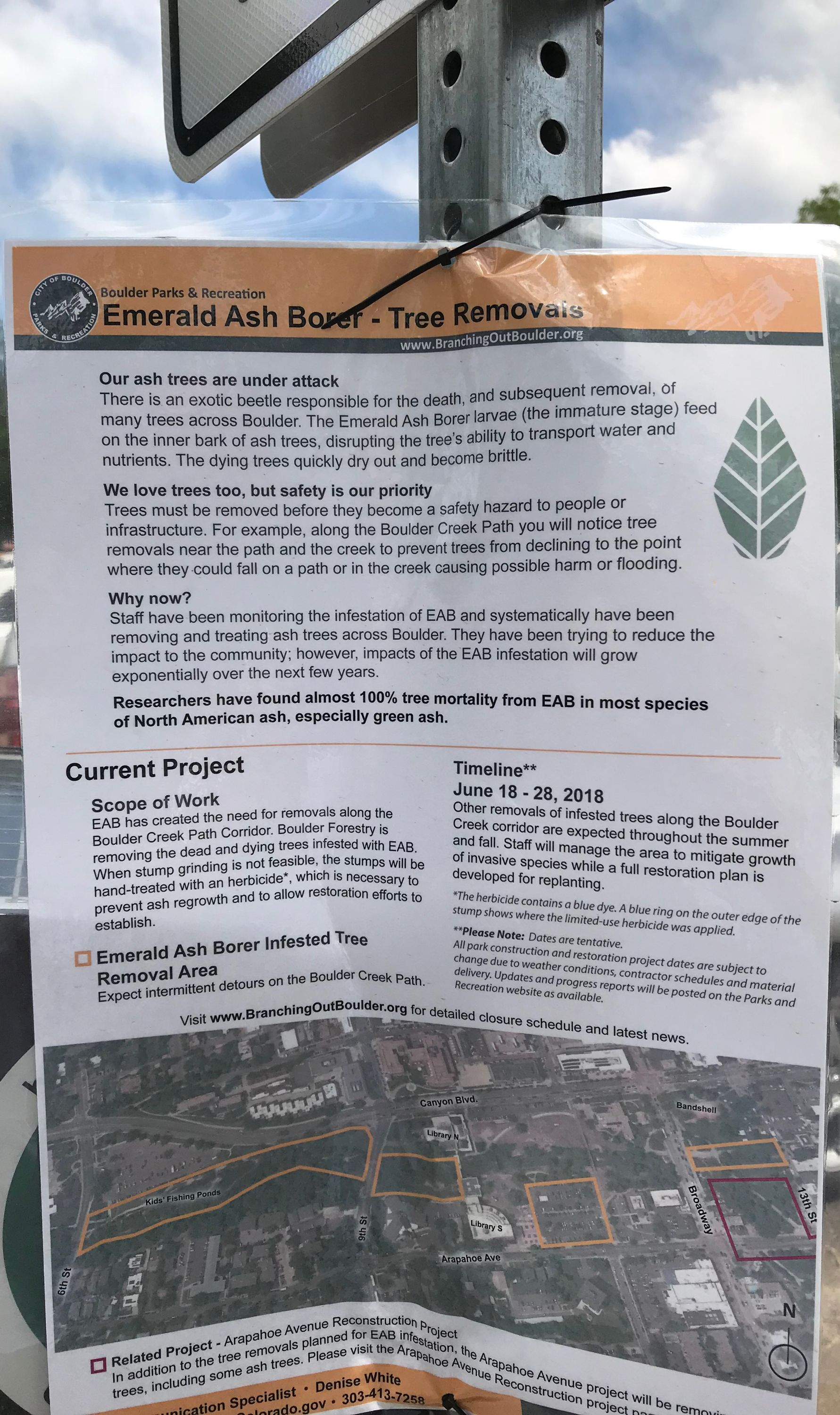 A sign about tree removal